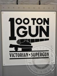 Sign of the 100 ton gun in Gibraltar