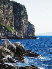 Both ends of Little Bay in Gibraltar