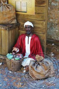 Representación de la venta de alimentos en la exposición de la Ciudad Bajo el Asedio