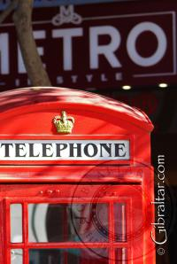 Telephone booth at Grand Casemates Square in Gibraltar