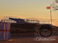 Batería de Harding a la puesta del sol