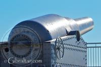 Parte posterior del cañón RML de la Batería de Harding en Punta Europa