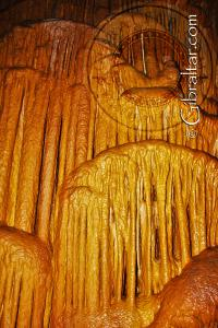 Drapery and flowstone inside Lower Saint Michael's Cave