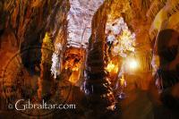 Stalagmites inside the Lower Saint Michael's Cave