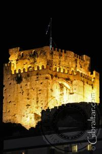 The Moorish Castle at night in Gibraltar