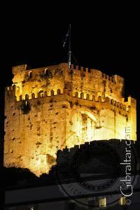 The Moorish Castle at night in Gibraltar