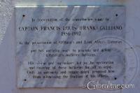 Placa en honor al Capitán Francis Louis Galliano