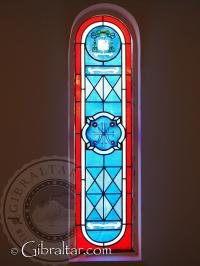 Stain glass window of the chapel of Our Lady of Europe
