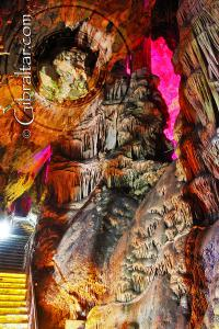 Flowstone covered walls inside Saint Michael's Cave